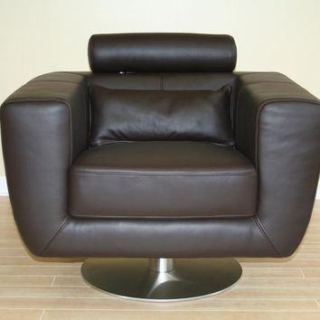 Baxton Studio Swivel-Action Dark brown Club Chair