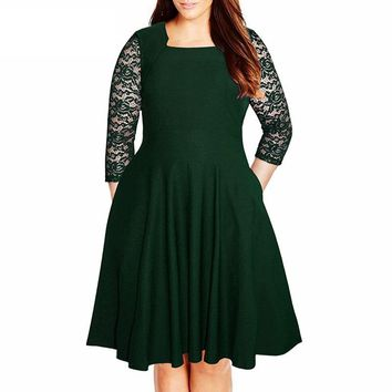 Vintage Square Collar 3/4 Sleeve Swing Lace Patchwork Dress With Pockets 7XL 8XL Party Midi Plus Size A-line Dress