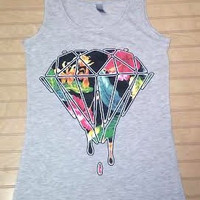 Ladies Jersey Tank Top Dripping Diamond Floral Print