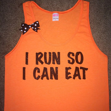 SALE - I Run So I Can Eat - Neon Orange - UNISEX Tank - Ruffles with Love - Womens Fitness - Workout Tank - Bow Tank