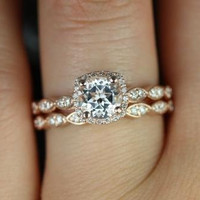 Christie 14kt Rose Gold White Topaz and Diamonds Cushion Halo Wedding Set (Other metals and stone options available)