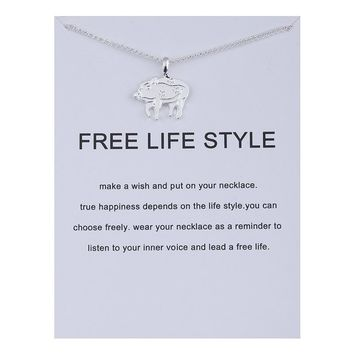 Lovely Pig Card Alloy Clavicle Pendant Necklace  171208