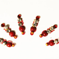 Bollywood Stunning Maroon Bead Bindis / Tribal Bindi in New Styles.