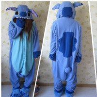 Designer Kawaii Anime Animal Blue Lilo Stitch Pajamas Adult Unisex Women Men Onesuit Polyester Polar Fleece One Piece Sleepwear = 1958441220