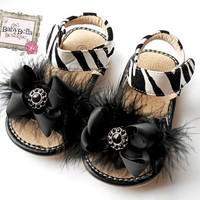 Zebra toddler  leather squeaky sandals black  bow and fathers, girl shoes.