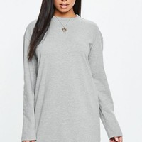 Missguided - Gray Long Sleeve T-Shirt Dress