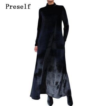 Preself Dresses Velour Velvet Turtleneck Loose Long Sleeve Oversize Maxi Dress Vestidos Women Elegant Wrap Party Black Color