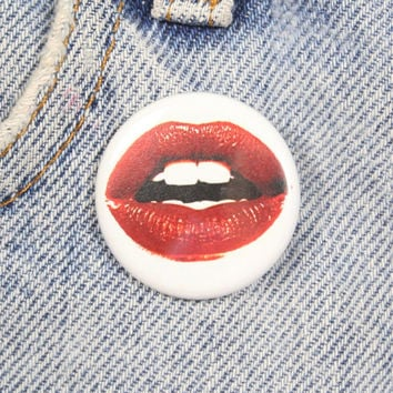 Red Lips 1.25 Inch Pin Back Button Badge