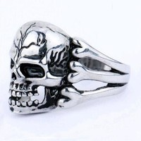 DCCKU62 Tomtosh 2016 Man's Ring Gothic Men's Skull Flower Biker Zinc alloy Ring Man fashion rings Free shipping