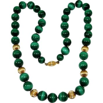 Vintage 14K Gold Malachite Bead Necklace Fluted Spacers