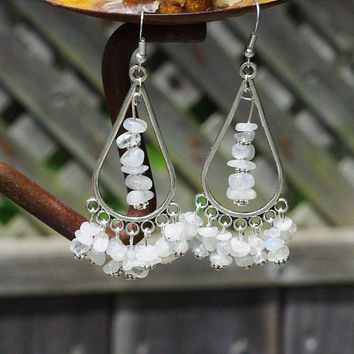 Moonstone Statement Earrings ~  Chandelier Earrings ~ Iridescent Stones ~ June's Birthstone ~ Wedding Wear ~ Prom ~ Graduation Gift