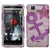 Rhinestones Protector Case for Motorola DROID X MB810, Anchor Full Diamond