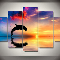 Dolphin Sunset Colorful 5-Piece Wall Art Canvas