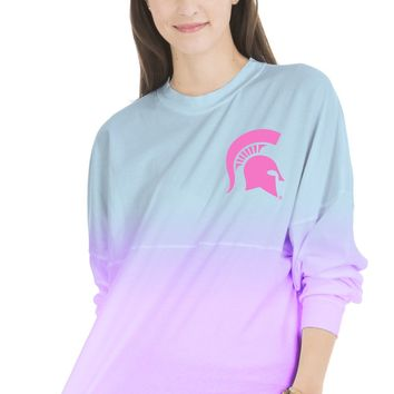 Official NCAA Michigan State University Spartans MSU Sparty Women's Long Sleeve Ombre Spirit Wear Jersey T-Shirt