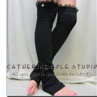 New Dancer ballerina yoga EXTRA LONG  leg warmers womens -BLACK  popcorn texture, lace buttons by Catherine Cole Studio legwarmers