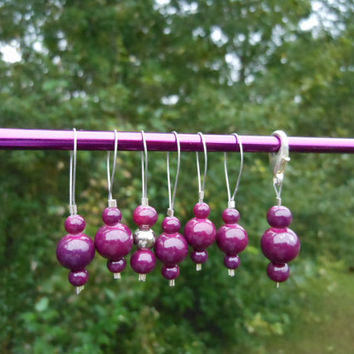 Set of 7 Burgundy Glass Bead Stitch Markers