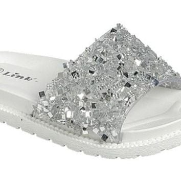 2018 Summer Sparkle White With Silver Sequin Fun In The Sun Flip Flops