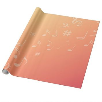 Peach Music Wrapping Paper