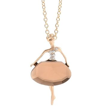 Fashion Chic Girls Ballet Crystal Pendant Necklace