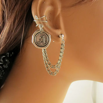 Personalized Ear Cuff Double Chain Antiqued Silver Single Side Any Letter