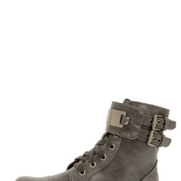 Biker 11 Gray Silver-Plated Combat Boots
