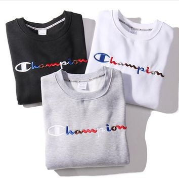 Champion Round Neck Colored letter embroidered with velvet hoodie Sweatshirt Tops