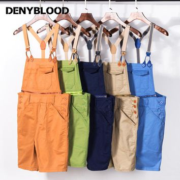 Denyblood Jeans Mens Chinos Overalls Mens Stretch Short Bib Pants Jumpsuit for Men Mutil Cutting Seams Casual Pants K8061