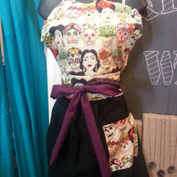 Beautiful Handmade Vintage Inspired Pin-Up Girl Apron  With Sugar Skull Freida Kahol and Lime Pom-poms