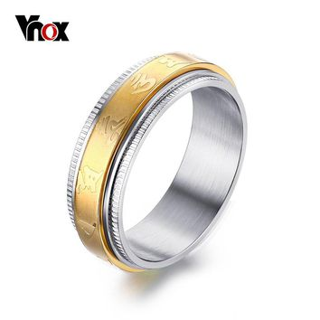 Vnox Gold-color Spinner Ring 7MM Stainless Steel Mantra Rings for Women Jewelry