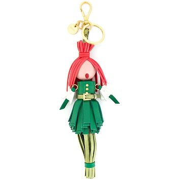 Prada Trick in Pelle Alice Doll Red Hair Mango Green Leather Key Chain 1TL172