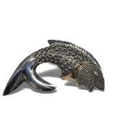 Sterling Silver Fish Brooch with Copper Accent