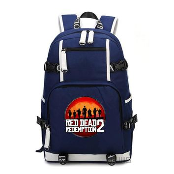 Game Red Dead Redemption 2 canvas Backpack women schoolbag men shoulder travel bag Laptop Bags Rucksack Teenage Girl Mochila