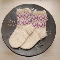 Hand knit socks for women, inspired by Fair Isle patterns, fall and winter accessories