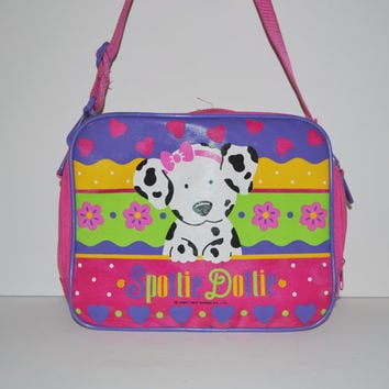 Vintage Spottie Dottie Bag Tote Lunch Box 90s Neon Pink and Purple Dalmatian Puppy Dog Bag Kawaii RARE Sanrio Collectible