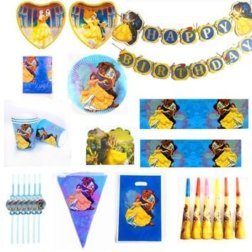 Beauty And Beast Theme Paper tableware Plate Cup Banner Invitation Tablecloth Topper Balloon Bag Favor Party Birthday Girl Gift