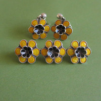 Meka Yellow Flowers  Set, Meka Denmark Brooch Earrings,  Vintage, Enamel & Sterling Silver, Mod, Fun!