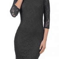 Date Night 3/4 Sleeve Lace Bodycon Dress in Black | Sincerely Sweet Boutique
