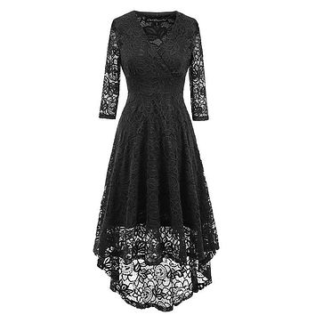 Lace Hollow Sexy Autumn Dress Women 2018 Long Sleeve Audrey Hepburn Vintage Dress Elegant Tunic Swing Party Dresses