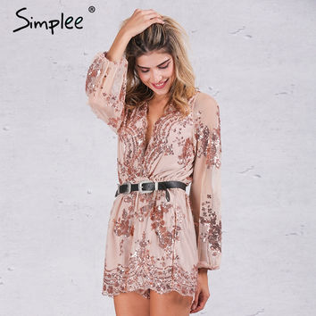 Simplee 2017 Autumn Gold sequin embroidery elegant jumpsuit romper Transparent mesh sleeve playsuit women Deep v neck overalls