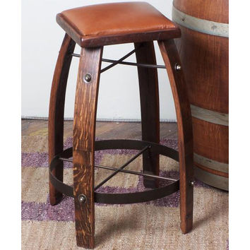 "28"" Stave Stool w/ Tan Leather Seat (Made from Wine Barrels)"