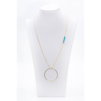 Long Gold Chain Faceted Turquoise Bead Necklace With Loop Circle Charm