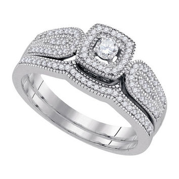 Diamond Bridal Set with 0.10ct Center Round Stone in 10k White Gold 0.33 ctw
