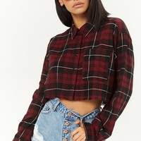 Frayed Plaid Cropped Shirt