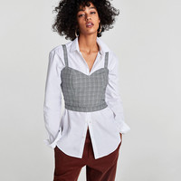 CROPPED CHECKED TOP DETAILS