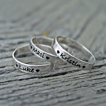 Stacking rings (3) sterling silver your choice of inscription custom personalized engraved Mothers