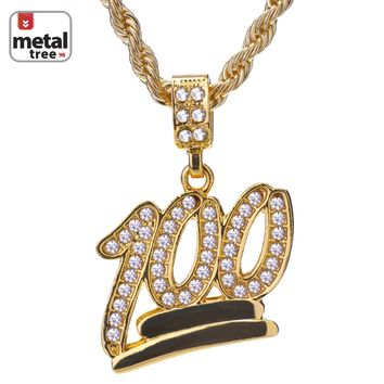 "Jewelry Kay style Men's Hip Hop Fashion Iced Out Mini Emoji 100 Pendant 24"" Rope Chain Necklace"