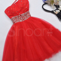 Hot Red Ball Gown One-shoulder Mini Graduation Dress