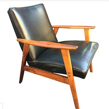 Pre-owned Danish Modern Leather & Hide Chair