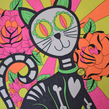 Colorful Day of the Dead Cat with Roses 9x12 Neon Sharpie Drawing, Sugar Skull Cat Dia De Los Muertos Original Alternative Gift Wall Decor