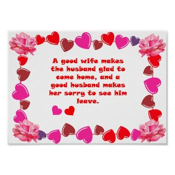 Good Wife Good Husband Quotes Greeting Card Poster